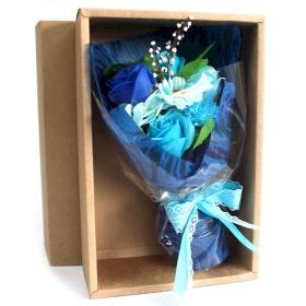 flor de jabon bouquet azul