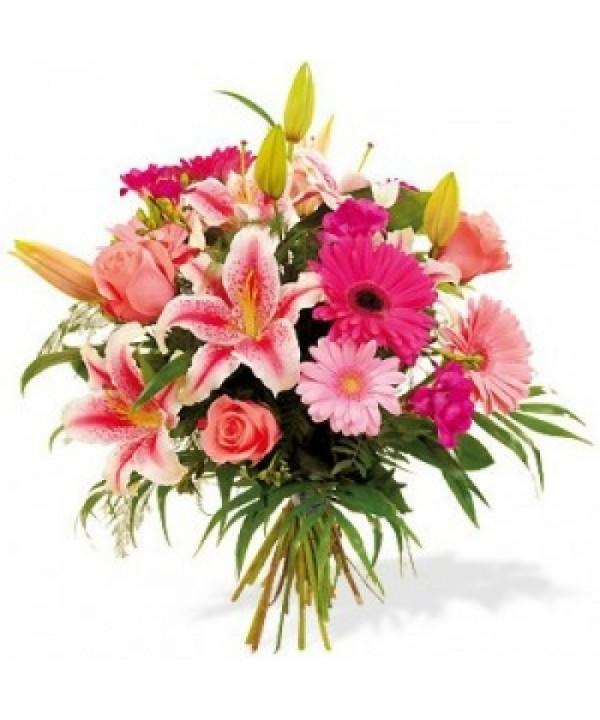 ramo de flores rosas con gerberas