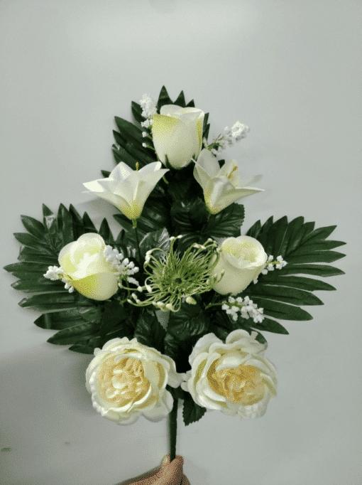 ramo artificial de peonias lilium y rosas blancas